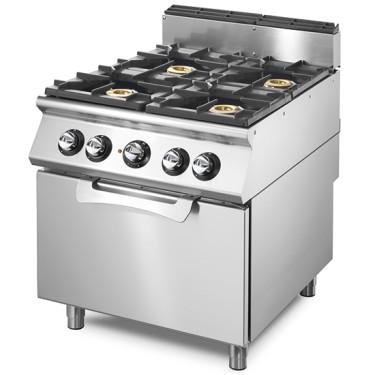 Cucina a gas su forno elettrico statico gn 2/1, 4 bruciatori