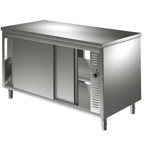 Tavoli armadiati caldi e riscaldati con porte scorrevoli, passanti, profondità 60 cm
