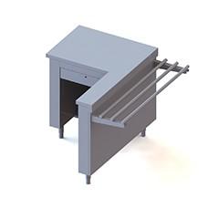 Elemento cassa, destra, con protezione, dotata di cassetto con serratura e presa di corrente