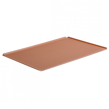 Teglia in alluminio non rivestita, GN 1/1 - 4 bordi 45°, silicone, perforata