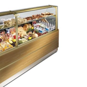 Vetrina espositiva refrigerata statica per pasticceria / gastronomia con 1 mensola, larghezza=2000