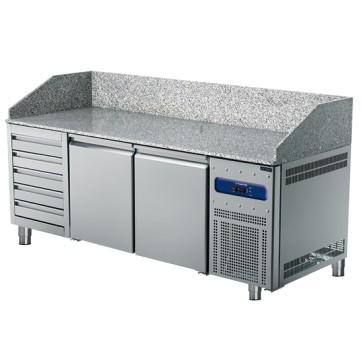 Banco pizza 2150 mm a 2 porte 600x400 mm, 5 cassetti EN