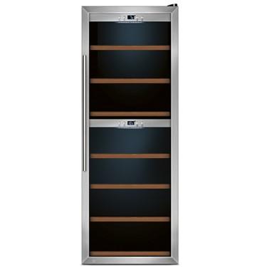Espositore refrigerato per vini ventilato 2 vani capacità 126 bottiglie 0,7 lt. temp. +5 °c/+22 °c