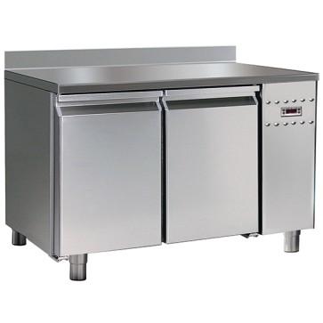 Tavolo refrigerato gruppo remoto, pasticceria 2 porte,6 guide 60x40 cm con piano in inox e alzatina