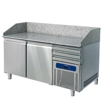 banco pizza 1600 mm a 2 porte 600x400 mm, 3 cassetti EN
