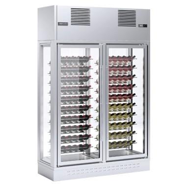 Espositore refrigerato isola per vini 2 vani colore grigio cap. 154 bott.0,7 lt.temp.2x +5°c/+18 °c
