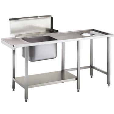 Tavolo ingresso sinistro con vasca a destra per lavastoviglie a capot OPT1012/CFN, l=1500 mm