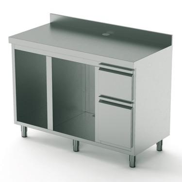 Retro base macchina caffè da 1500 mm con elemento per lavabicchiere e produttore di ghiaccio