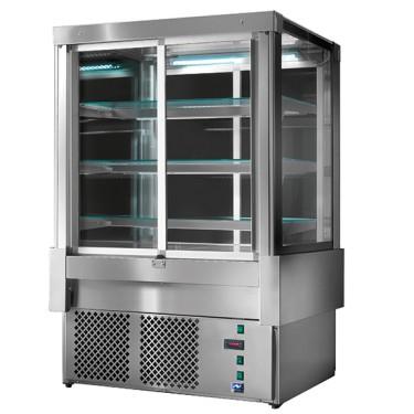Espositore refrigerato ventilato con 4 porte e 3 ripiani, +3°/+5°C, l=1500 mm - RAL9005