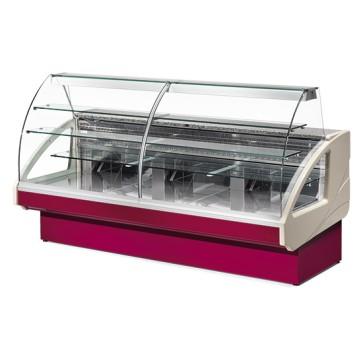 Vetrina refrigerata statica per pasticceria con 2 cassetti, larghezza=1400 mm