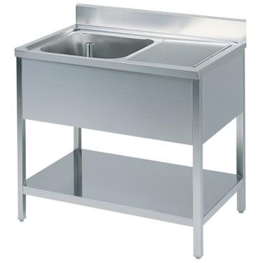 Tavolo da lavoro con vasca a sinistra, con alzatina, con ripiano intermedio