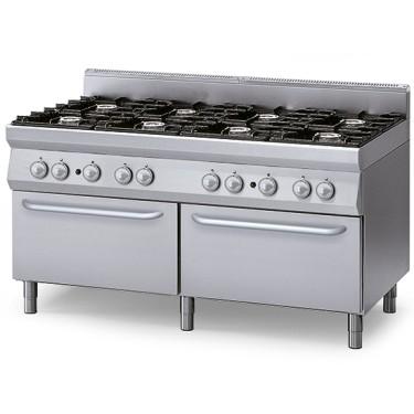 Cucina a gas su 2 forni a gas statici GN 2/1, 8 bruciatori
