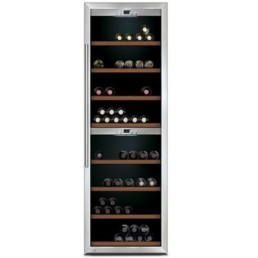 Espositore refrigerato per vini ventilato 2 vani capacità 160 bottiglie 0,7 lt. temp. +5 °c/+22 °c