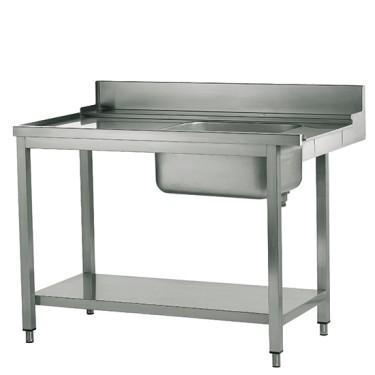 tavolo ingresso sinistro con vasca a destra per lavastoviglie a capot, l=1500 mm