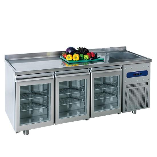 Tavoli refrigerati profondità 700 mm con lavello e porte in vetro