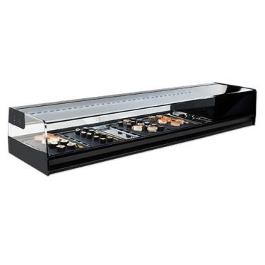 Vetrina refrigerata sushi 4x GN 1/3 con illuminazione LED, +1°/+5°C