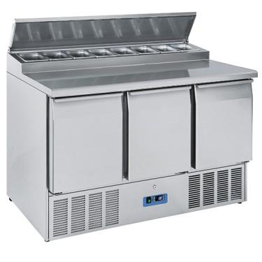 Banco di preparazione refrigerato 3 porte gn 1/1 temperatura +2 °c/+10 °c