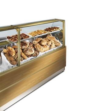 Vetrina caldo secco con piano espositivo riscaldato con mensola, larghezza 2500 mm
