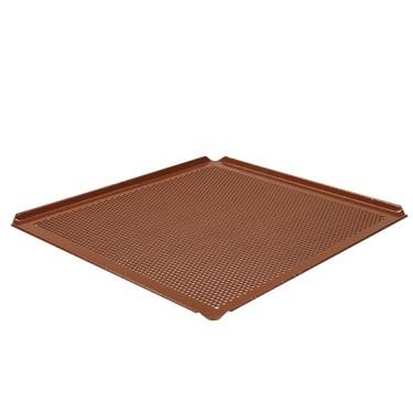 Teglia in alluminio non rivestita, GN 2/3 - 4 bordi 45°, silicone, perforata