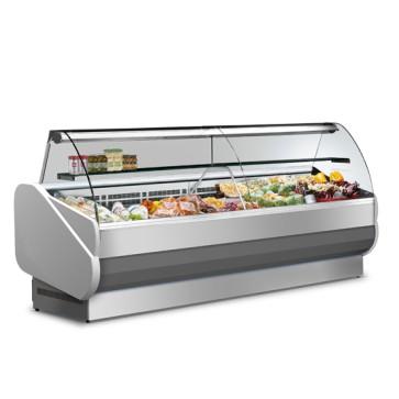 Vetrina refrigerata semi-ventilata,vetro curvo, +3°C/+5°C, 1040x900mm.