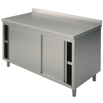 Tavolo armadio neutro, porte scorrevoli e alzatina