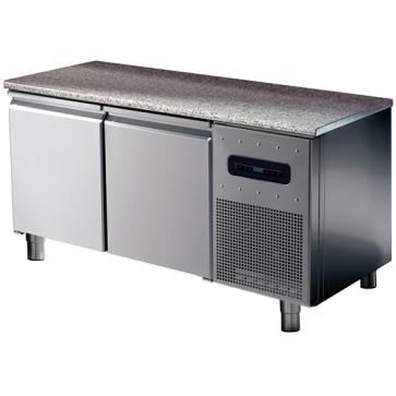 Tavolo congelatore pasticceria hccp sistem 2 porte con 6 guide 60x40 e 2 griglie, piano in granit