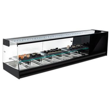 Vetrina refrigerata sushi 6x GN 1/3 con ripiano inermedio e illuminazione LED, +1°/+5°C