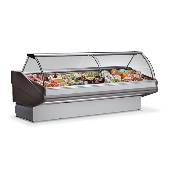 Vetrine refrigerate semi-ventilate, vetro curvo profondità 1300 mm