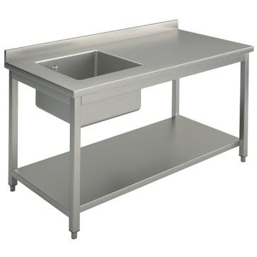 Tavolo con vasca sinistra 50x40 cm con ripiano intermedio e alzatina