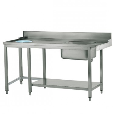 tavolo ingresso sinistro con vasca a destra e foro rifiuti, l=1500 mm