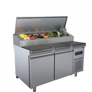 Tavolo di preparazione refrigerato 2 porte 46x66 con piano grigliato, 9x GN 1/3 h=150 mm