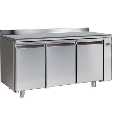 Tavolo refrigerato gruppo remoto pasticceria 3 porte con 8 guide 60x40 cm piano in inox e alzatina