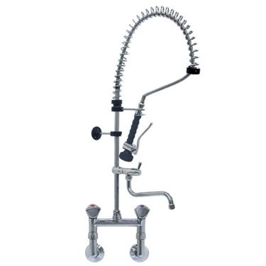 Doccione per stoviglie con miscelatore a parete e rubinetto monoacqua orizzontale, ø 1/2