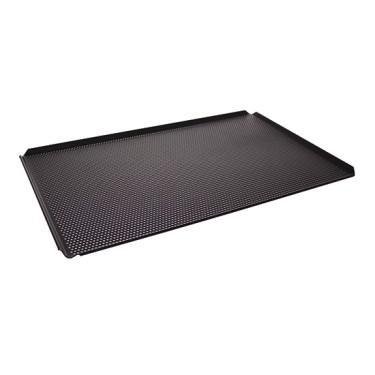 Teglia in alluminio non rivestita, 600x400 mm - 4 bordi 45°, rivestimento termoplastico, perforata