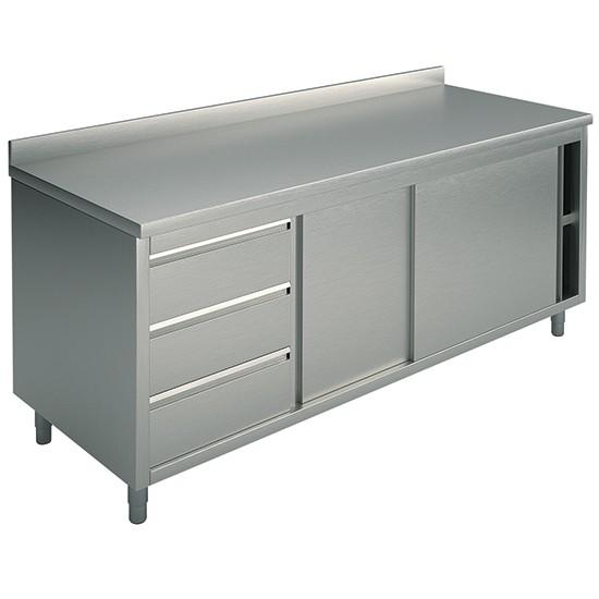 Tavoli armadiati con cassettiera a sinistra con alzatina profondità 70 cm