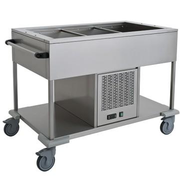 Carrello refrigerato statico con ripiano inferiore, 1 vasca 3x GN 1/1, +4 °C/+10 °C