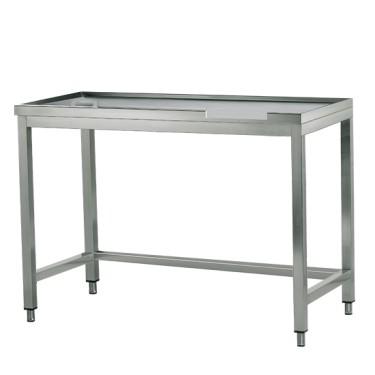 tavolo di cernita sinistro con foro, per macchine con uscita a destra, l=1600 mm