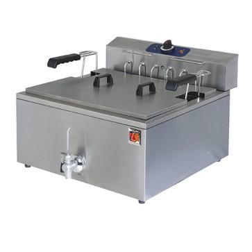 Friggitrice elettrica per pasticceria, cap. 25 Lt. con rubinetto di scarico.