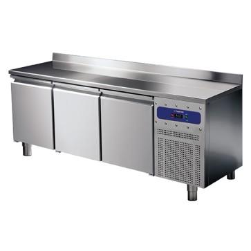 Tavolo refrigerato da 600 mm a 3 porte con alzatina, -2°/+8°C