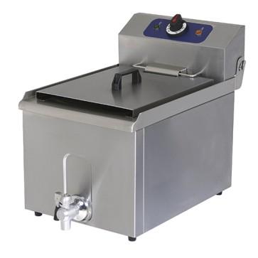 Friggitrice elettrica da banco con rubinetto di scarico, capacità olio 8 litri