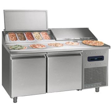 Banco pizza refrigerato con 2 porte
