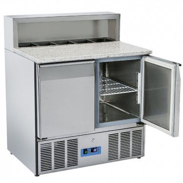 banco pizza a 2 porte GN 1/1, 5x GN 1/6 h=150 mm, 0°/+8°C