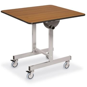 Tavolo con piano quadrato ribaltabile, su ruote, 100x100 cm