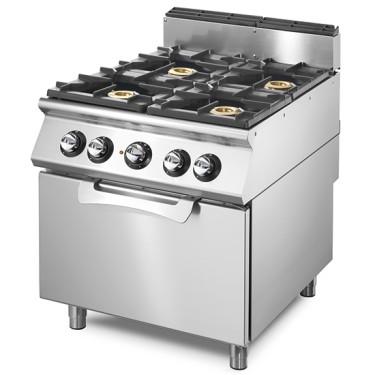 Cucina a gas su forno elettrico statico GN 2/1, 4 bruciatori.