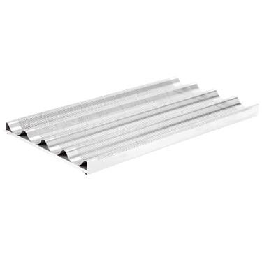 Teglia alluminio forato e siliconata GN 1/1 per 4 baguette