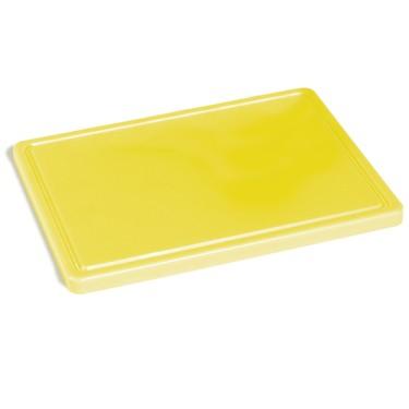 tagliere in giallo per pollame con canalina, 500x300 mm
