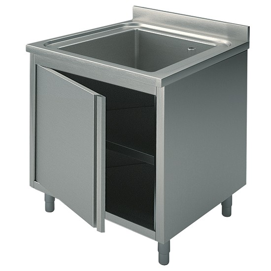 1 vasca, su armadio, con porta battente, profondità 60 cm