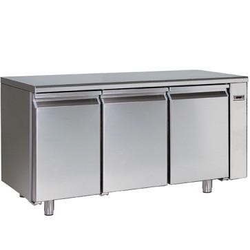 Tavolo refrigerato gruppo remoto,pasticceria 3 porte con 8 guide 60x40 cm con piano in inox