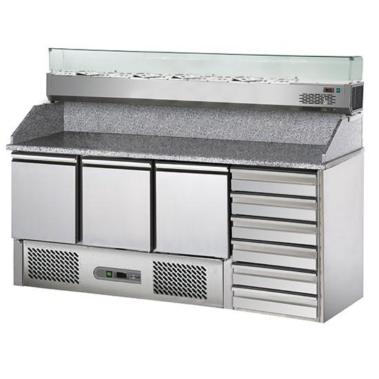 Tavoli per pizzeria refrigerati profondità 700 mm con vetrinetta