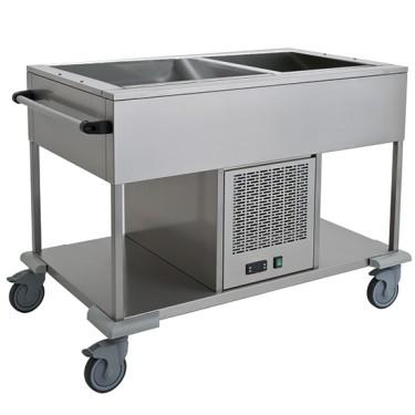 Carrello refrigerato statico con ripiano inferiore, 1 vasca 2x GN 1/1, +4 °C/+10 °C